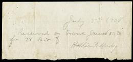 FRANK JAMES - AUTOGRAPH RECEIPT SIGNED 07/03/1908 CO-SIGNED BY: HOLLIS J. PALLADY
