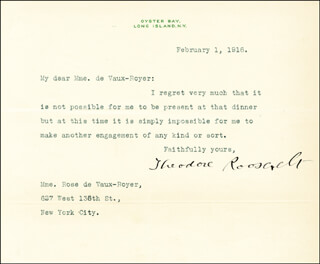 PRESIDENT THEODORE ROOSEVELT - TYPED LETTER SIGNED 02/01/1916