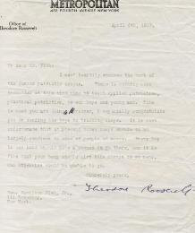 PRESIDENT THEODORE ROOSEVELT - TYPED LETTER SIGNED 04/06/1917