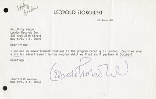 LEOPOLD STOKOWSKI - TYPED LETTER SIGNED 06/28/1968