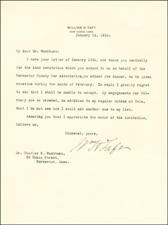 PRESIDENT WILLIAM H. TAFT - TYPED LETTER SIGNED 01/14/1914