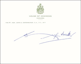 Autographs: PRIME MINISTER JOHN G. DIEFENBAKER (CANADA) - PRINTED CARD SIGNED IN INK
