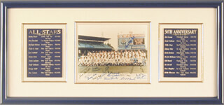 Autographs: ALL-STAR ANNIVERSARY - PHOTOGRAPH SIGNED CIRCA 1983 CO-SIGNED BY: BURLEIGH A. GRIMES, GEORGE KELL, JUDY JOHNSON, FRANK MALZONE, JOHNNY MIZE, EDD J. ROUSH, WAITE HOYT, BOB LEMON, ENOS SLAUGHTER, BOBBY DOERR, BROOKS ROBINSON, DON DRYSDALE, DON LARSEN, BOBBY THOMSON, TRAVIS JACKSON, WILLIE SAY HEY KID MAYS, ROBIN ROBERTS, CARL HUBBELL, MONTE IRVIN, JOE SEWELL