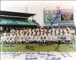 Autographs: ALL-STAR ANNIVERSARY - PHOTOGRAPH SIGNED CIRCA 1983 CO-SIGNED BY: BURLEIGH A. GRIMES, JUDY JOHNSON, HAL PRINCE HAL NEWHOUSER, FRANK MALZONE, JOHNNY MIZE, WAITE HOYT, BOB LEMON, ENOS SLAUGHTER, WARREN SPAHN, BROOKS ROBINSON, PEE WEE REESE, DON DRYSDALE, DON LARSEN, BOBBY THOMSON, WILLIE SAY HEY KID MAYS, ROBIN ROBERTS, CARL HUBBELL, MONTE IRVIN