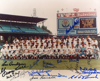 ALL-STAR ANNIVERSARY - AUTOGRAPHED SIGNED PHOTOGRAPH CIRCA 1983 CO-SIGNED BY: BURLEIGH A. GRIMES, GEORGE KELL, JUDY JOHNSON, FRANK MALZONE, JOHNNY MIZE, LOU BOUDREAU, EDD J. ROUSH, WAITE HOYT, ENOS SLAUGHTER, BOBBY DOERR, BROOKS ROBINSON, DON DRYSDALE, DON LARSEN, TRAVIS JACKSON, WILLIE SAY HEY KID MAYS, ROBIN ROBERTS, CARL HUBBELL, JOE SEWELL, DUKE SNIDER