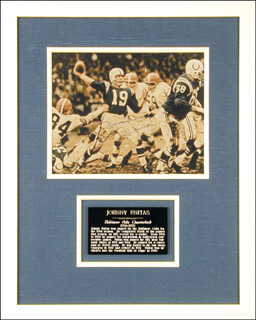 JOHNNY UNITAS - AUTOGRAPHED SIGNED PHOTOGRAPH