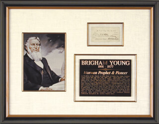 BRIGHAM YOUNG - CURRENCY SIGNED 01/20/1849 CO-SIGNED BY: THOMAS BULLOCK, HEBER C. KIMBALL, NEWELL K. WHITNEY