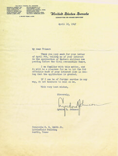 PRESIDENT LYNDON B. JOHNSON - TYPED LETTER SIGNED 04/12/1949