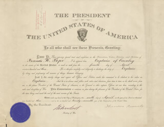 Autographs: PRESIDENT THEODORE ROOSEVELT - MILITARY APPOINTMENT SIGNED 04/06/1903 CO-SIGNED BY: ELIHU ROOT