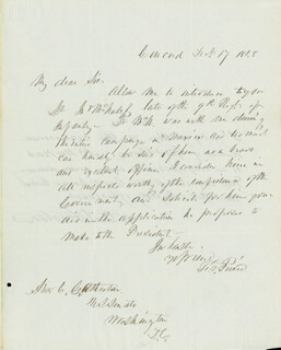 PRESIDENT FRANKLIN PIERCE - AUTOGRAPH LETTER SIGNED 12/17/1848 CO-SIGNED BY: CHARLES GORDON ATHERTON