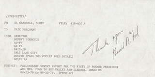 Autographs: PRESIDENT GERALD R. FORD - AUTOGRAPH NOTE SIGNED