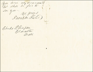 PRESIDENT FRANKLIN PIERCE - AUTOGRAPH LETTER SIGNED 12/09/1865