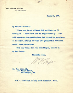 PRESIDENT WILLIAM H. TAFT - TYPED LETTER SIGNED 03/25/1909