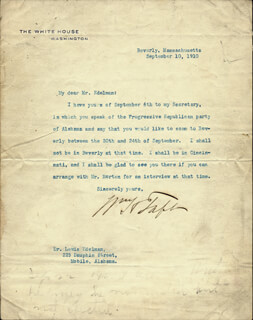 PRESIDENT WILLIAM H. TAFT - TYPED LETTER SIGNED 09/10/1910