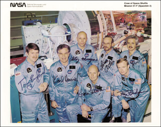 COLONEL C. GORDON FULLERTON - AUTOGRAPHED SIGNED PHOTOGRAPH CO-SIGNED BY: JOHN-DAVID F. BARTOE, ANTHONY ENGLAND, STORY MUSGRAVE, MAJOR GENERAL ROY D. BRIDGES JR., LOREN ACTON, KARL G. HENIZE