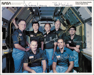 COLONEL ROBERT OVERMYER - AUTOGRAPHED INSCRIBED PHOTOGRAPH CO-SIGNED BY: CAPTAIN NORMAN E. THAGARD, TAYLOR WANG, COMMANDER DON L. LIND, LODEWIJK VAN DEN BERG, WILLIAM E. THORNTON, COLONEL FREDERICK D. GREGORY