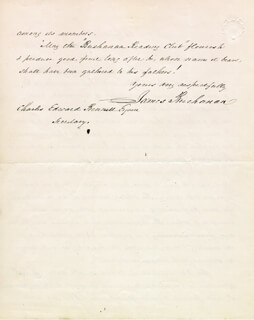 PRESIDENT JAMES BUCHANAN - AUTOGRAPH LETTER SIGNED 10/29/1862