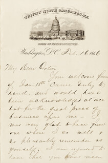 PRESIDENT JAMES A. GARFIELD - AUTOGRAPH LETTER SIGNED 02/16/1866