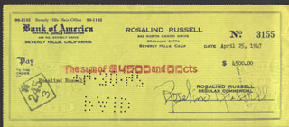 ROSALIND RUSSELL - CHECK SIGNED & ENDORSED 04/25/1947
