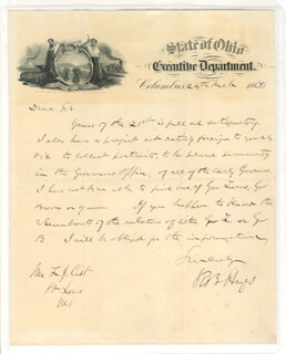 PRESIDENT RUTHERFORD B. HAYES - AUTOGRAPH LETTER SIGNED 03/24/1868