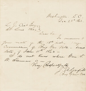 PRESIDENT JAMES A. GARFIELD - AUTOGRAPH LETTER SIGNED 12/24/1862