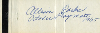 ALLISON PARKS - MATCH BOOK SIGNED 1965