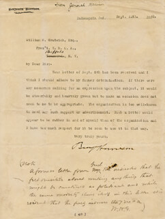 PRESIDENT BENJAMIN HARRISON - TYPED LETTER SIGNED 09/12/1888 CO-SIGNED BY: WILLIAM H. GRATWICK