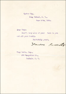 Autographs: PRESIDENT THEODORE ROOSEVELT - TYPED LETTER SIGNED