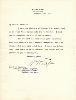 PRESIDENT WILLIAM H. TAFT - TYPED LETTER SIGNED 12/22/1914
