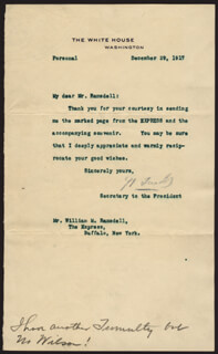 JOSEPH P. TUMULTY - TYPED LETTER SIGNED 12/29/1917