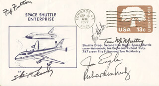 MAJOR GENERAL JOE ENGLE - COMMEMORATIVE ENVELOPE SIGNED CO-SIGNED BY: THOMAS C. McMURTRY, LT. COLONEL FITZ (FITZHUGH) FULTON JR., VIC HORTON, SKIP GUIDRY, VICE ADMIRAL RICHARD H. TRULY