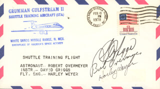 COLONEL ROBERT OVERMYER - COMMEMORATIVE ENVELOPE SIGNED CO-SIGNED BY: S. DAVID GRIGGS, HARLEY WEYER