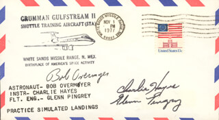 COLONEL ROBERT OVERMYER - FIRST DAY COVER SIGNED CO-SIGNED BY: CHARLIE HAYES, GLENN PINGREY
