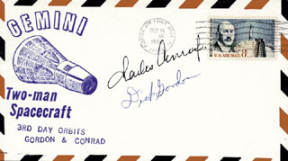 CAPTAIN CHARLES PETE CONRAD JR. - COMMEMORATIVE ENVELOPE SIGNED CO-SIGNED BY: CAPTAIN RICHARD F. DICK GORDON JR.