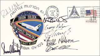 CAPTAIN ROBERT L. HOOT GIBSON - COMMEMORATIVE ENVELOPE SIGNED CO-SIGNED BY: STEVEN A. HAWLEY, ROBERT J. CENKER, FRANKLIN F. CHANG-DIAZ, MAJOR GENERAL CHARLES F. BOLDEN JR., GEORGE D. NELSON