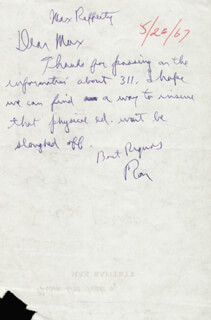PRESIDENT RONALD REAGAN - AUTOGRAPH LETTER SIGNED 05/26/1967 CO-SIGNED BY: MAXWELL RAFFERTY JR.