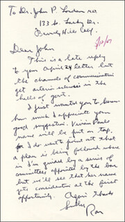 PRESIDENT RONALD REAGAN - AUTOGRAPH LETTER SIGNED 05/12/1967