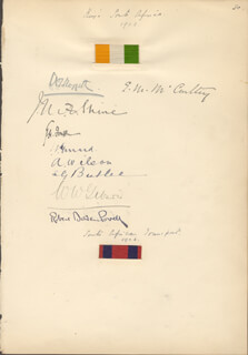 Autographs: ROBERT BADEN-POWELL - SIGNATURE(S) 1902 CO-SIGNED BY: DAME EMMA MAUD MCCARTHY, A. T. SLOGGETT, J. M. SHINE, G. H. FORRESTER, J. V. GERRARD, A. WILSON, S. G. BUTLER, W. W. GIBSON