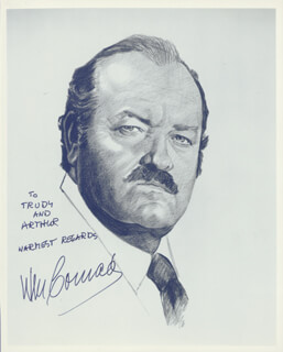 WILLIAM CONRAD - PRINTED ILLUSTRATION INSCRIBED AND SIGNED IN INK