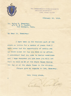 Autographs: PRESIDENT CALVIN COOLIDGE - TYPED LETTER SIGNED 02/18/1919