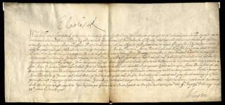 KING CHARLES II (GREAT BRITAIN) - DOCUMENT SIGNED 02/09/1681 CO-SIGNED BY: HENRY (1ST EARL OF ARLINGTON) BENNET