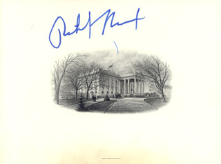 PRESIDENT RICHARD M. NIXON - WHITE HOUSE ENGRAVING SIGNED