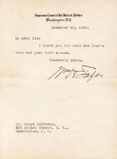 PRESIDENT WILLIAM H. TAFT - TYPED LETTER SIGNED 12/29/1928