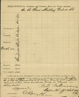 BRIGADIER GENERAL ROSWELL S. RIPLEY - DOCUMENT SIGNED 12/24/1862