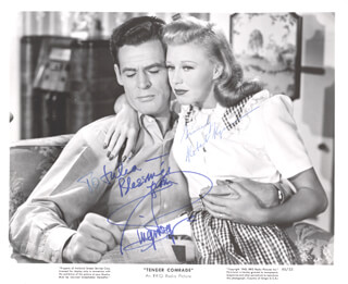 TENDER COMRADE MOVIE CAST - INSCRIBED PRINTED PHOTOGRAPH SIGNED IN INK CO-SIGNED BY: ROBERT RYAN, GINGER ROGERS