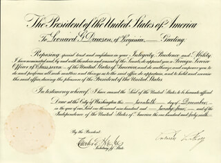 PRESIDENT CALVIN COOLIDGE - DIPLOMATIC APPOINTMENT SIGNED 12/20/1924 CO-SIGNED BY: CHIEF JUSTICE CHARLES E HUGHES