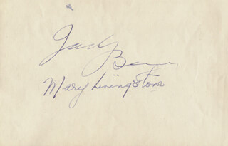 JACK BENNY - AUTOGRAPH CO-SIGNED BY: MARY (MRS. JACK BENNY) LIVINGSTONE