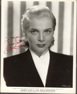LIZABETH SCOTT - INSCRIBED PRINTED PHOTOGRAPH SIGNED IN INK
