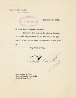 PRESIDENT CALVIN COOLIDGE - TYPED LETTER SIGNED 02/28/1924