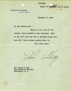 Autographs: PRESIDENT CALVIN COOLIDGE - TYPED LETTER SIGNED 12/17/1926